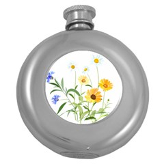 Flowers Flower Of The Field Round Hip Flask (5 Oz)