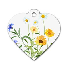 Flowers Flower Of The Field Dog Tag Heart (one Side)
