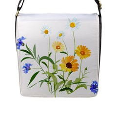 Flowers Flower Of The Field Flap Messenger Bag (l)