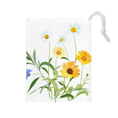 Flowers Flower Of The Field Drawstring Pouches (Large)