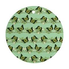 Green Butterflies Ornament (Round)