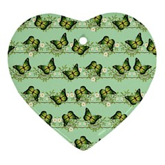 Green Butterflies Ornament (Heart)