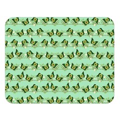 Green Butterflies Double Sided Flano Blanket (large)