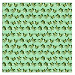 Green Butterflies Large Satin Scarf (Square)