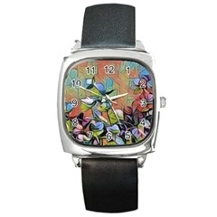 Spring Flowers Magic Cube Square Metal Watch