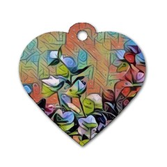 Spring Flowers Magic Cube Dog Tag Heart (Two Sides)