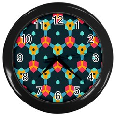 Connected shapes pattern          Wall Clock (Black)