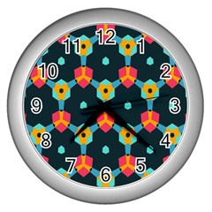 Connected shapes pattern          Wall Clock (Silver)