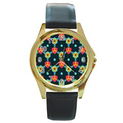 Connected shapes pattern          Round Gold Metal Watch