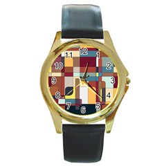Patchwork Round Gold Metal Watch