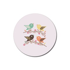 Four Birds Rubber Round Coaster (4 pack)