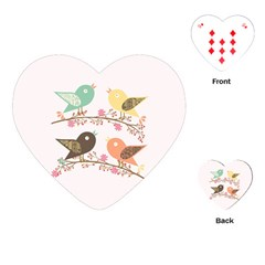 Four Birds Playing Cards (Heart)