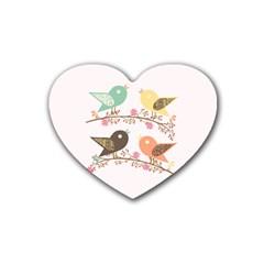 Four Birds Rubber Coaster (Heart)