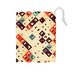 Squares in retro colors         Drawstring Pouch