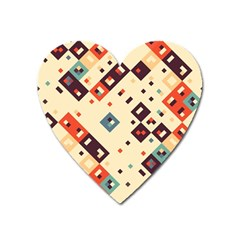 Squares in retro colors         Magnet (Heart)