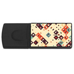 Squares in retro colors         USB Flash Drive Rectangular (2 GB)