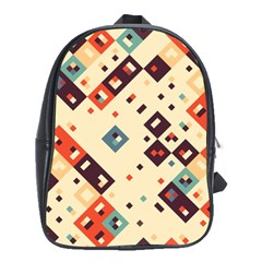 Squares in retro colors         School Bag (Large)