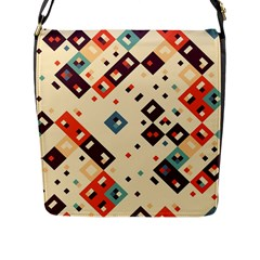 Squares in retro colors         Flap Closure Messenger Bag (L)