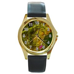 Dragonfly Dragonfly Wing Insect Round Gold Metal Watch