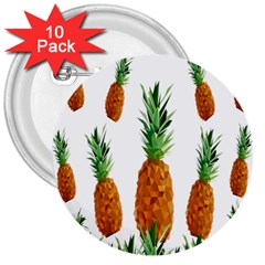 Pineapple Print Polygonal Pattern 3  Buttons (10 Pack)