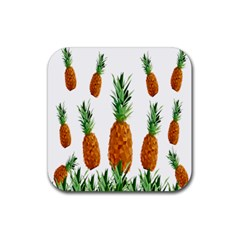 Pineapple Print Polygonal Pattern Rubber Square Coaster (4 Pack)