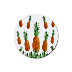 Pineapple Print Polygonal Pattern Rubber Round Coaster (4 Pack)