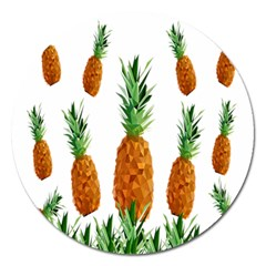Pineapple Print Polygonal Pattern Magnet 5  (round)