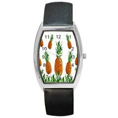 Pineapple Print Polygonal Pattern Barrel Style Metal Watch