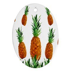 Pineapple Print Polygonal Pattern Oval Ornament (Two Sides)