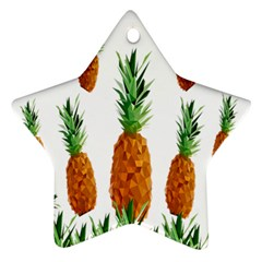 Pineapple Print Polygonal Pattern Star Ornament (Two Sides)