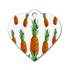 Pineapple Print Polygonal Pattern Dog Tag Heart (one Side)