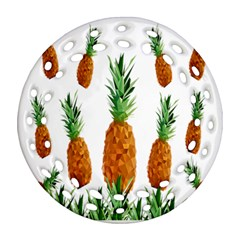 Pineapple Print Polygonal Pattern Round Filigree Ornament (Two Sides)