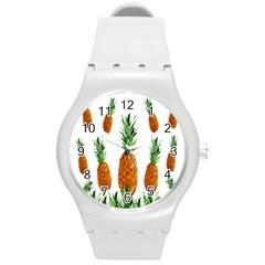 Pineapple Print Polygonal Pattern Round Plastic Sport Watch (m)