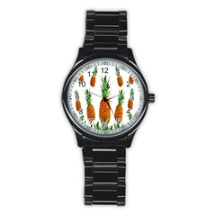 Pineapple Print Polygonal Pattern Stainless Steel Round Watch