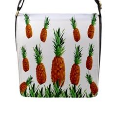 Pineapple Print Polygonal Pattern Flap Messenger Bag (L)