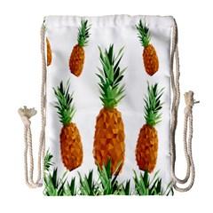 Pineapple Print Polygonal Pattern Drawstring Bag (Large)