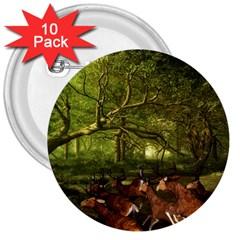 Red Deer Deer Roe Deer Antler 3  Buttons (10 pack)