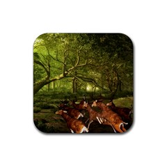 Red Deer Deer Roe Deer Antler Rubber Square Coaster (4 Pack)