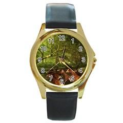 Red Deer Deer Roe Deer Antler Round Gold Metal Watch