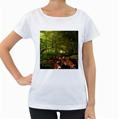 Red Deer Deer Roe Deer Antler Women s Loose Fit T Shirt (white)