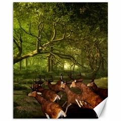 Red Deer Deer Roe Deer Antler Canvas 11  X 14