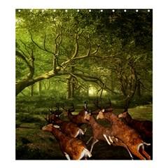 Red Deer Deer Roe Deer Antler Shower Curtain 66  x 72  (Large)