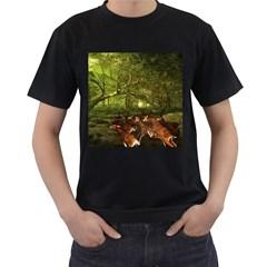 Red Deer Deer Roe Deer Antler Men s T-Shirt (Black)