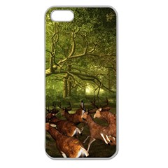 Red Deer Deer Roe Deer Antler Apple Seamless Iphone 5 Case (clear)