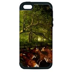 Red Deer Deer Roe Deer Antler Apple iPhone 5 Hardshell Case (PC+Silicone)