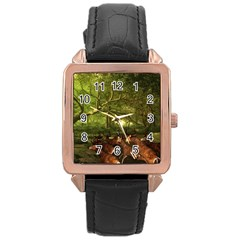 Red Deer Deer Roe Deer Antler Rose Gold Leather Watch