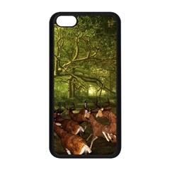Red Deer Deer Roe Deer Antler Apple Iphone 5c Seamless Case (black)