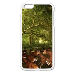 Red Deer Deer Roe Deer Antler Apple Iphone 6 Plus/6s Plus Enamel White Case
