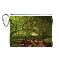 Red Deer Deer Roe Deer Antler Canvas Cosmetic Bag (L)