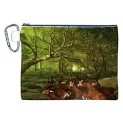 Red Deer Deer Roe Deer Antler Canvas Cosmetic Bag (xxl)